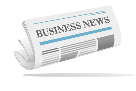 folded newspaper: Folded newspaper icon with header Business News isolated on white  Illustration