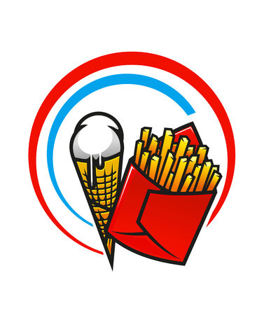 crispy: Takeaway foods icon with a red packet of crispy French fries and a dripping ice cream cone enclosed within a circular blue and red frame