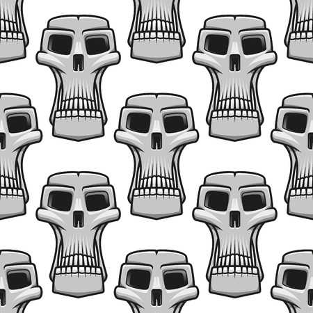 bstract: Seamless pattern of long stylized spooky Halloween skulls in a repeat motif in square format Illustration