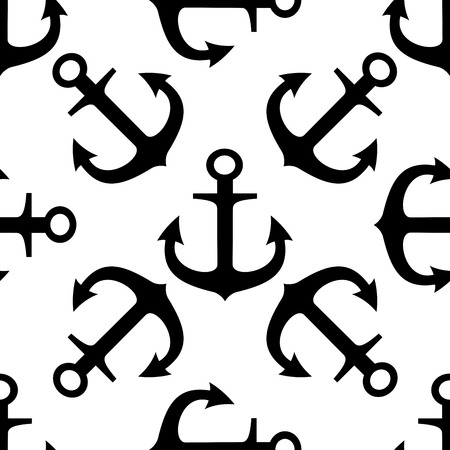 Black and white silhouette seamless pattern of ships anchors in a random arrangement in square format Vector