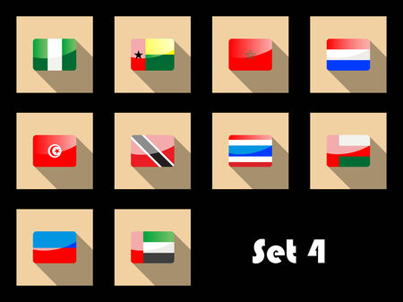 Flags of Nigeria, Guinea-Bissau, Morocco, Tunisia, Trinidad, Thailand, United Arab Emirates, Oman and Netherlands on flat icons Vector