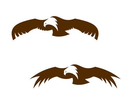 outspread: Two flying eagles with outspread wings, one with closed feathers and one with splayed feathers for tattoo or mascot design Illustration