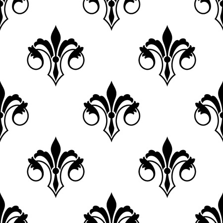 Ornate stylized fluer de lys seamless pattern with curled foliate elements in a black and white silhouette