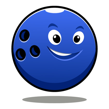 skittle: Happy colourful blue cartoon bowling ball with a cute grin, finger holes and shadow for sports or leisure design Illustration