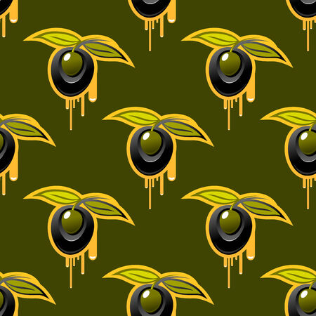 Repeat background seamless pattern of fresh olives with two leaves dripping golden  Vector