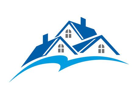 흰색에 고립 된 부동산 업계의 상징으로 집의 지붕