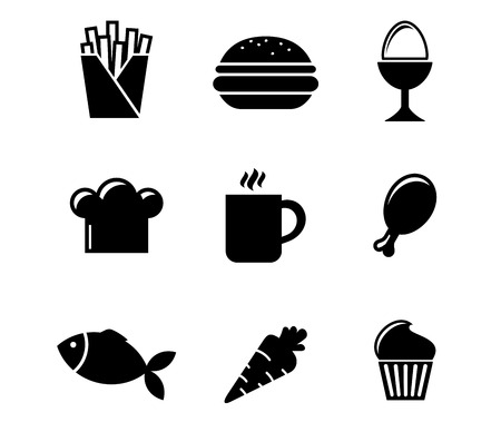 Collection of black and white silhouette food icons including French fries, boiled egg, toque, cookie, coffee, drumstick, fish, carrot and cupcake Vector