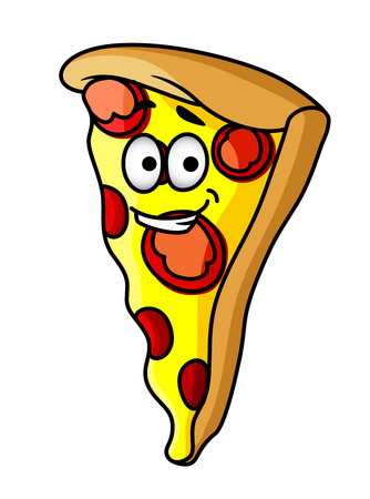 ham and cheese: Slice of happy cheesy pepperoni or salami pizza with a beaming smile and golden colour for fast food design