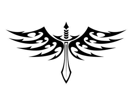 outspread: Black and white illustration of a winged sword tattoo with barbed feathers in outspread graceful wings