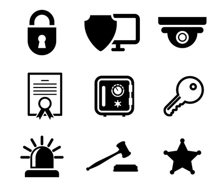 guard house: Collection of safety and security icons in black and white depicting a padlock, computer security, certificate, key, police light, gavel and sheriffs star