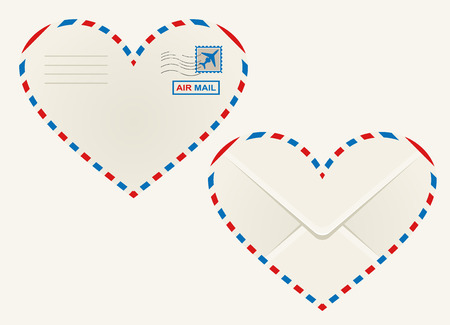 Heart shaped airmail envelope outlined in the striped red and blue airmail sign with the front view showing a postage stamp and rear view the flap