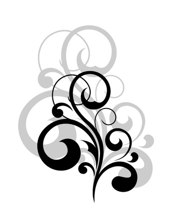 Dainty black and white silhouetted swirling calligraphic design element with a repeat motif behind in light grey for a luxury vintage effect