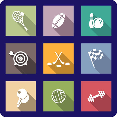 Colorful flat sporting icons depicting tennis, rugby, football, ice hockey, bowling, archery, motor sport, table tennis, weights and volleyball Vector