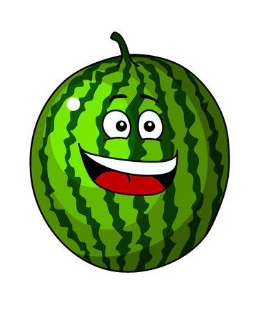 tempting: Happy refreshing green cartoon watermelon fruit for a tempting tropical treat with a beaming smile isolated on white