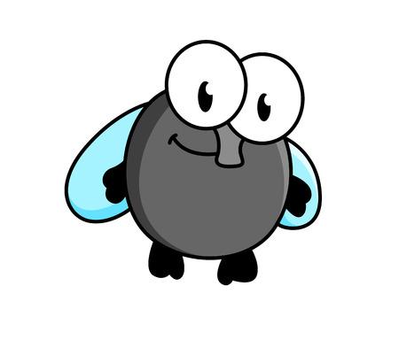 mosca caricatura: Vuela de dibujos animados poco divertido con los ojos saltones, una probóscide y alas azules de colores aislados en blanco