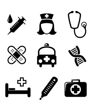 cama hospital: Conjunto de iconos m�dicos negros y blancos, incluyendo una jeringa, una enfermera, estetoscopio, vendajes, ambulancia, un term�metro, un botiqu�n de primeros auxilios y una cama de hospital aislado en blanco
