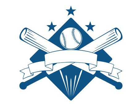 batter: Championship or league baseball emblem with a blank wavy ribbon banner with copyspace over crossed bats and a ball superimposed on a diamond with stars, blue and white Illustration