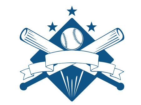 Kampioenschap of league baseball embleem met een lege golvende lint banner met copyspace over gekruiste knuppels en een bal bovenop een diamant met sterren, blauw en wit