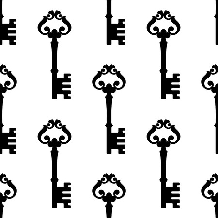passkey: Repeat seamless pattern of an old-fashioned ornate key arranged in rows standing upright in square format suitable for textile or wallpaper
