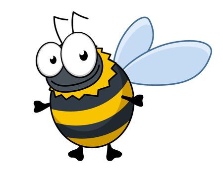 Vliegende cartoon hommels of hornet met kleurrijke zwarte en gele strepen en een gelukkige glimlach, geïsoleerd op wit