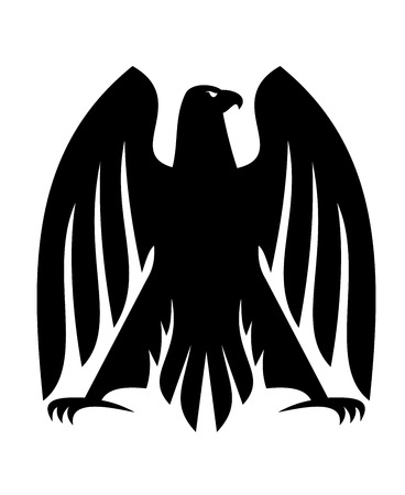 outspread: Black and white impressive Imperial eagle silhouette with raised outspread wings and curved talons, head turned in profile for heraldry design