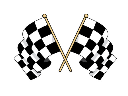 furled: Crossed black and white flags used in motor sport to signal finishing successful competitors waving in the wind with furled fabric Illustration