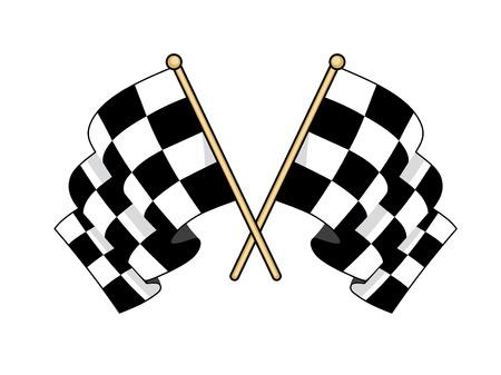 Gekreuzte schwarze und weiße Fahnen im Motorsport verwendet, um zu signalisieren, Finishing erfolgreichen Konkurrenten im Wind wehende mit eingerollten Stoff