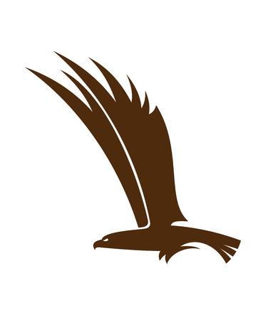 Seitenansicht Silhouette eines fliegenden Falken oder Habicht mit seinen mächtigen Flügeln für Maskottchen oder Tattoo-Design erhöht
