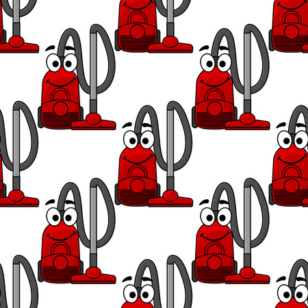 hoover: Happy smiling modern red vacuum cleaner in a repeat seamless background pattern in square format, cartoon illustration