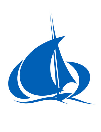 yacht race: Stylized silhouette of blue yacht sailing the ocean waves with billowing sails on white Illustration