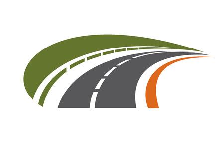 silhouette voiture: Courber route goudronnée avec une barrière de sécurité bordée par un champ vert recul dans la distance vers le point de fuite