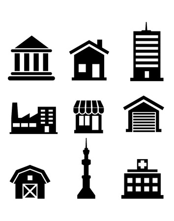 Silhouetted buildings and architectural icons depicting church, temple, hospital, tower, shop, market, office, factory, house and farm