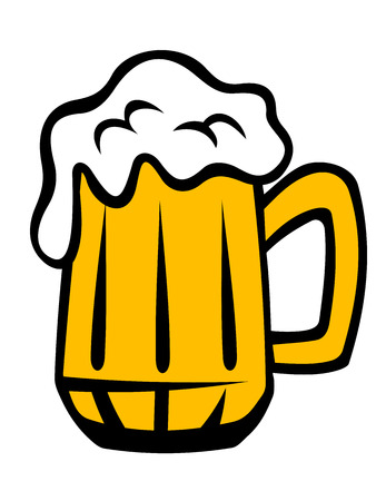 tankard: Tankard of golden lager with a frothy head running over the glass, cartoon isolated on white