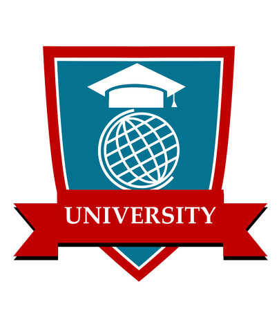 University emblem with a mortarboard cap over a globe enclosed in a shield with a ribbon banner and the text University Vector