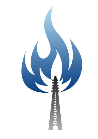 blue flame: Gas and oil industry symbol - pipe with blue glow flame
