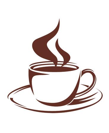 Bruin en wit doodle schets van een dampende kop vol geroosterde koffie op een schotel, geïsoleerd op wit