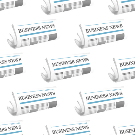 Seamless pattern of folded Business News newspaper arranged as a repeat motif in rows on a square format