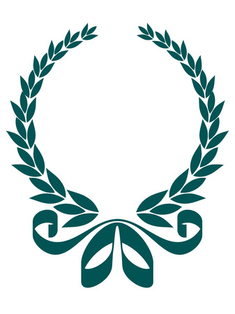 enclosing: Blue silhouette of a circular foliate laurel wreath with a decorative ribbon enclosing blank copyspace, isolated on white
