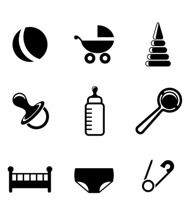 diaper: Baby and childish icons with a pram, ball, bottle, dummy or pacifier, crib, nappy, safety pin and toys in a black and white