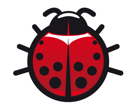 Cartoon red and black spotted ladybug or ladybird icon with a circular body viewed from above Ilustrace
