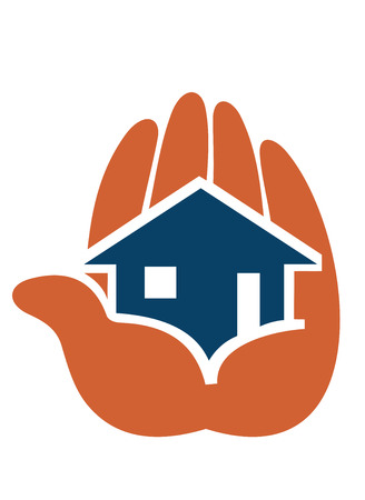 House in people hands for icon of safety concept or real estate industry design  Vector