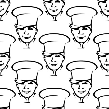Repeat seamless background pattern of smiling young chefs wearing traditional white toques in square format Vector