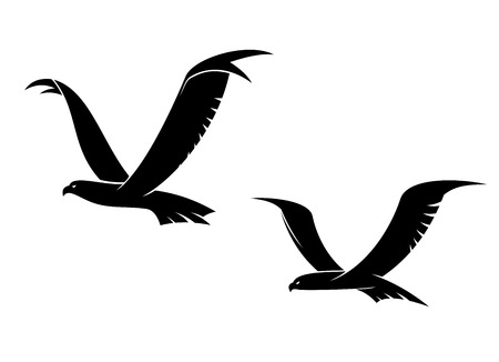 outspread: Two graceful flying birds in a black silhouette with outspread wings for tattoo or power cocnept design