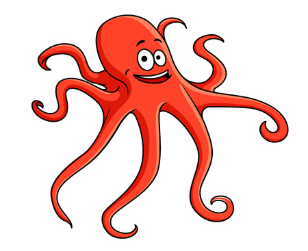 Cute red octopus with curling tentacles and a happy smile, cartoon illustration isolated on white Vector