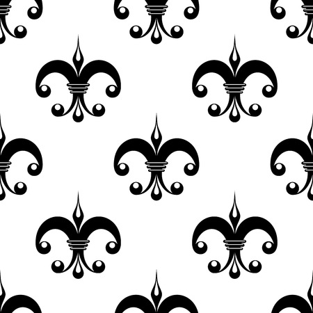 lys: Vintage fleur de lys pattern in black and white with unusual ornate motifs arranged in a seamless pattern suitable for tiles, wallpaper and fabric, square format