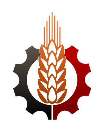enclosing: Icon depicting agriculture and industry with a two tone gear or cog wheel enclosing a ripe ear of golden wheat