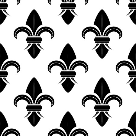 french symbol: Black and white fleur de lys pattern with a stylized spatulate vintage style motif in a repeat seamless pattern in square format