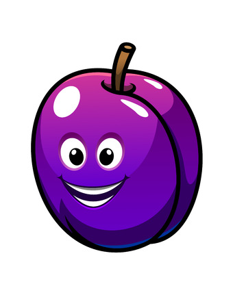prune: Colorful healthy fresh purple plum fruit with a laughing happy face, cartoon  illustration isolated on white