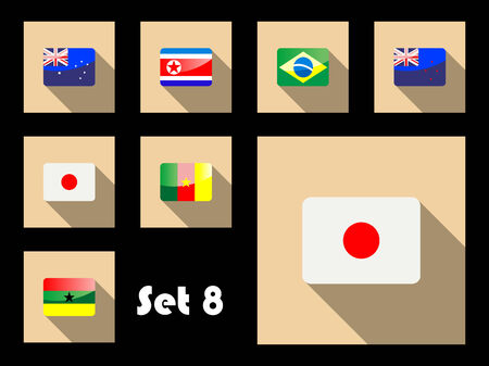 Flat icons of Australia, Japan, Brazil, New Zealand, Korea Republic, Ghana and Cameroon flags Vector