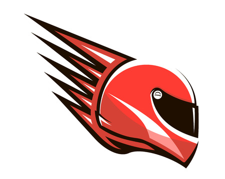 Red racing helmet with spikes projecting from the back giving the impression of speed, side view Illustration